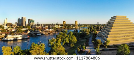 Panoramic Aerial View of Sacramento Downtown, river and tower bridge.  #1117884806