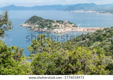 Panoramic aerial view of Sestri Levante and the Gulf of TIgullio from the path to Punta Manara Stock photo ©