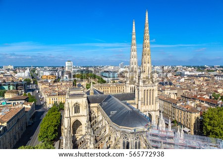 Panoramic aerial view of St. Andrew's Cathedral in Bordeaux in a beautiful summer day, France