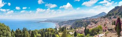 Panoramic aerial view of Taormina in Sicily, Italy in a beautiful summer day
