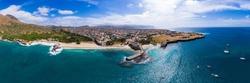 Panoramic aerial view of Tarrafal beach in Santiago island in Cape Verde - Cabo Verde