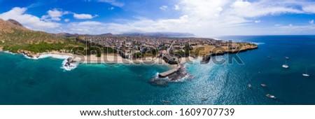 Panoramic aerial view of Tarrafal beach in Santiago island in Cape Verde - Cabo Verde Foto stock ©