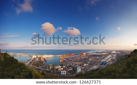 panoramic aerial view of the Barcelona port, Spain.