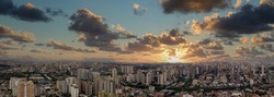 Panoramic aerial view of the city of Santo André, São Paulo at sunset