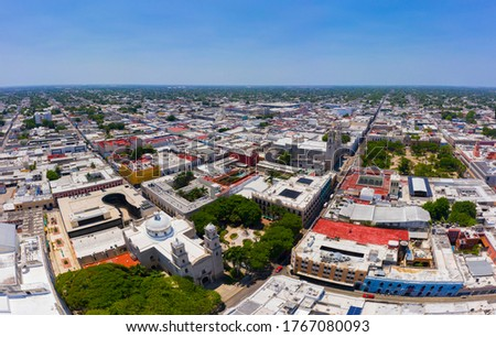 Panoramic aerial view of the colonial streets in the center of Merida