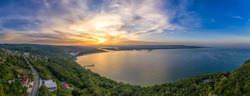 Panoramic aerial view of the sea bay. Aerial drone view of sea and coastline of Varna, Bulgaria