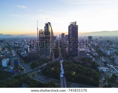 Panoramic aerial view of the skyscrapers of Reforma Avenue on a clear morning