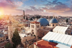 Panoramic aerial view of the Temple of the Holy Sepulcher at sunset in the old city of Jerusalem, Christian quarter, Israel