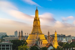 Panoramic aerial view of  Wat Arun Temple at beautiful sunset in Bangkok Thailand.