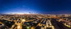 Panoramic aerial view on the city of Fort Worth during sunset with final afterglow and clear skies