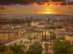 Panoramic aerial view over the Leith district of Edinburgh at dusk, Scotland, UK