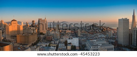 Panoramic aerial view  San Francisco and bay area on sunrise