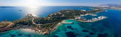 Panoramic aerial view to the Lemos area at Vouliagmenis district, south Athens riviera with beaches, yacht marinas and hotels, Greece