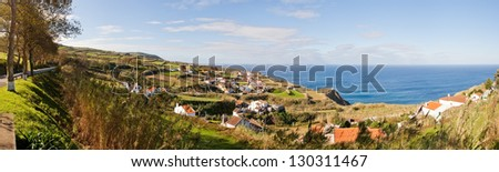 Panoramic aerial view to town over Atlantic ocean, San Miguel, Azores, Portugal