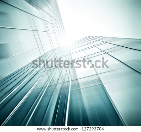 Panoramic And Perspective Wide Angle View To Steel Blue Background Of