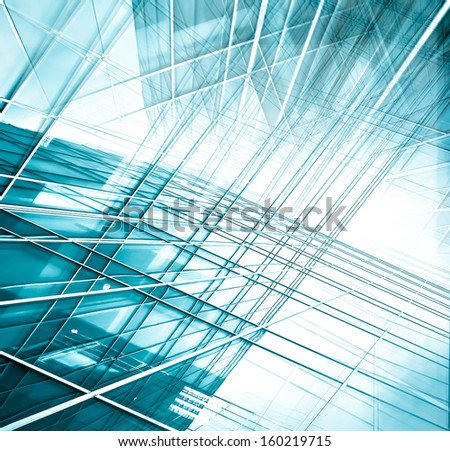 Panoramic and perspective wide angle view to steel blue background of glass high rise building skyscrapers in modern futuristic downtown at night Business concept of successful industrial architecture #160219715