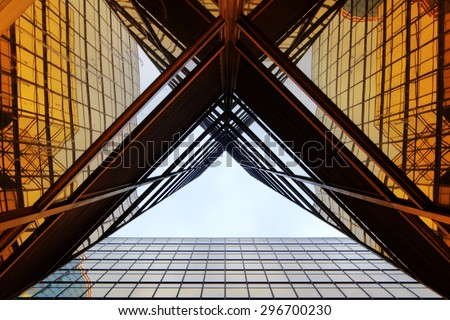 stock photo panoramic and perspective wide angle view to steel light blue background of glass high rise 296700230 - Каталог - 3d фотообои