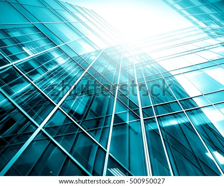 Panoramic and perspective wide angle view to steel light blue background of glass high rise building skyscraper commercial modern city of future. Business concept of success industry tech architecture #500950027