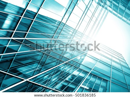 Panoramic and perspective wide angle view to steel light blue background of glass high rise building skyscraper commercial modern city of future. Business concept of success industry tech architecture #501836185