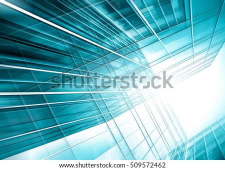 Panoramic and perspective wide angle view to steel light blue background of glass high rise building skyscraper commercial modern city of future. Business concept of success industry tech architecture #509572462