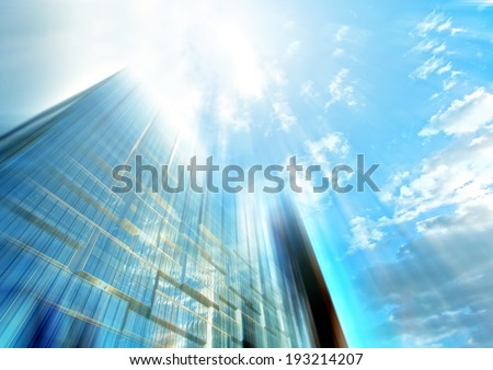 Panoramic and perspective wide angle view to steel light blue background of glass highrise building skyscraper, modern futuristic commercial city Business concept of successful industrial architecture #193214207