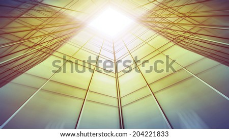 Panoramic and perspective wide angle view to steel light blue sky texture of glass high rise tall building skyscraper commercial modern city of future Business concept of success industry architecture #204221833