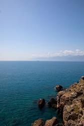 Panoramic Antalya bay view from sea cliffs