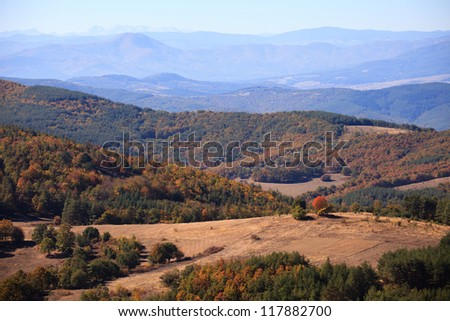 panoramic autumn high mountain landscape in bulgaria