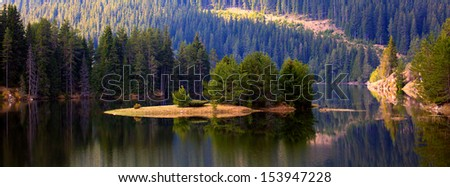 panoramic autumn lake in bulgarian mountain  - stock photo