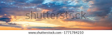 Photo of  Panoramic Ave Sunrise Sundown Sanset Sky with colorful clouds, without any birds. Big size sky panoramic view