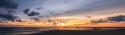 Panoramic Background of Sunset sky on the beach,Nature background,Banner cover concept background.