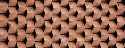 Panoramic background of wide old red brick wall texture. Home or office design backdrop.