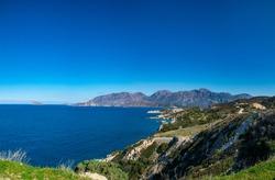 Panoramic bird eye view of Aegean sea in Crete island, Greece. HD panorama blue sky and Cretan sea. Greek nature.
