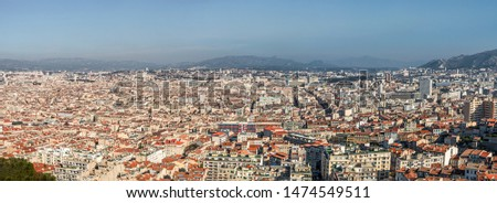 Panoramic bird view over modern center and suburbs in Marseille at sundown France #1474549511