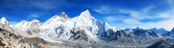 Panoramic blue colored view of himalayas mountains, Mount Everest and Khumbu Glacier from Kala Patthar - way to Everest base camp, Khumbu valley, Sagarmatha national park, Nepalese himalayas