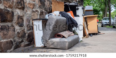 Panoramic bulky waste collection Household breakdown on the street Photo stock ©