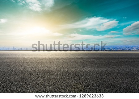 Panoramic city skyline and buildings with empty asphalt road in Shanghai #1289623633