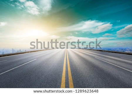 Panoramic city skyline and buildings with empty asphalt road in Shanghai #1289623648