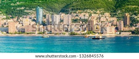 Panoramic city view of Monte Carlo, Monaco. #1326845576