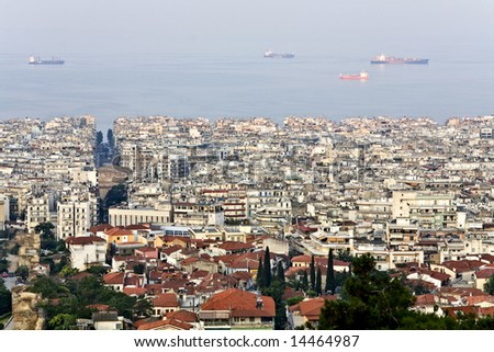 Panoramic city view of Thessaloniki, capital of North Greece at Macedonia province