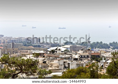 Panoramic city view of Thessaloniki, capital of North Greece at Macedonia province - stock photo