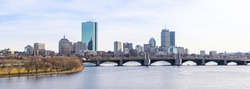 Panoramic Cityscape of Boston skyscraper skylines office buildings along Charles River at Boston City Commonwealth of Massachusetts in New England United States. Photographing from Cambridge Side.