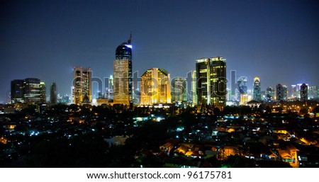 Panoramic cityscape of Indonesia capital city Jakarta at night