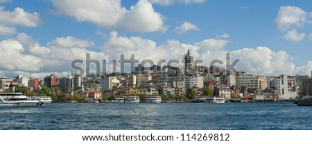Panoramic cityscape over the Bosphorus River in Istanbul Turkey with a large residential area and Galata Tower