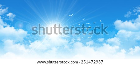 Panoramic cloudscape. High resolution blue sky background. Sun and birds breaking through white clouds