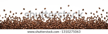 Panoramic coffee beans border isolated on white background with copy space