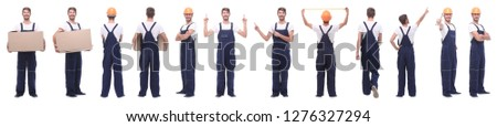panoramic collage of male handyman isolated on white #1276327294
