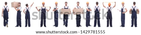 panoramic collage of skilled handyman isolated on white #1429781555