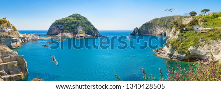 Panoramic collage with green rocky coast and giant green rock in azure sea near near small village Sant'Angelo, Ischia Island, Italy.  #1340428505