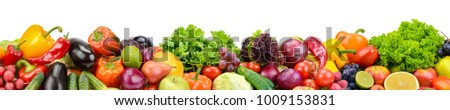 Panoramic collection fresh fruits and vegetables for skinali isolated on white background. Copy space.
